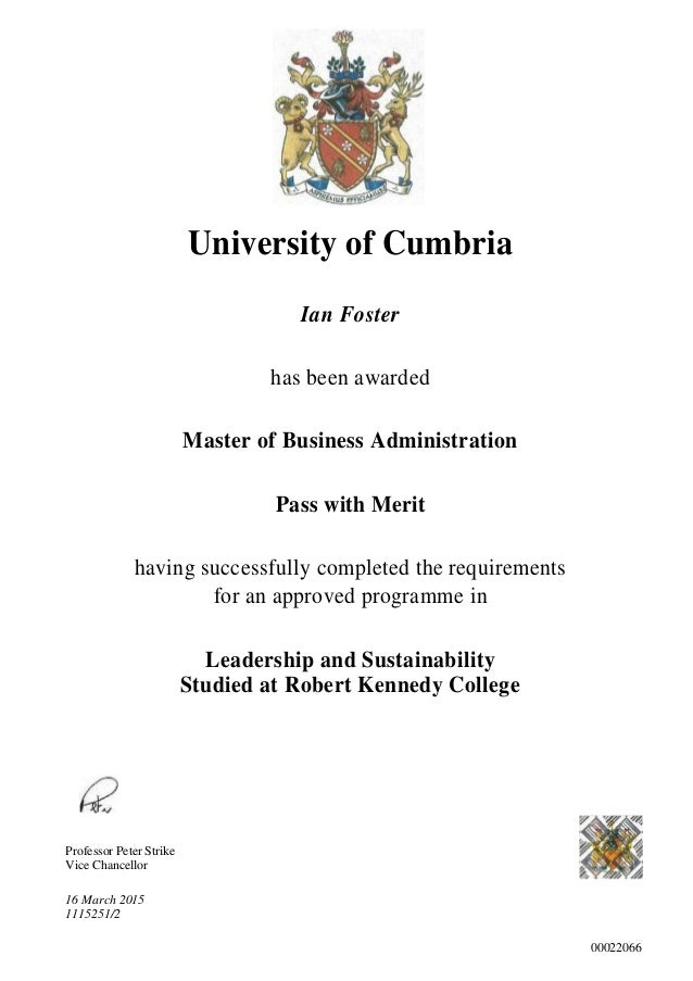 university of cumbria mba review