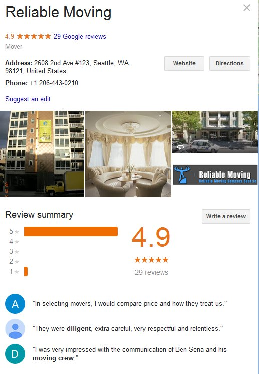 reliable moving and storage reviews